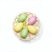 Enfeite Decorativo De Páscoa Cesta Com 5 Ovos De Plástico