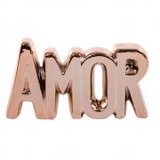 Enfeite Decorativo De Cerâmica Rose Gold  Frase Amor