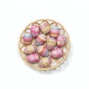 Enfeite Decorativo De Páscoa Cesta Com 12 Ovos De Plástico