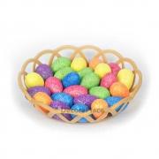 Enfeite Decorativo De Páscoa Cesta Com 24 Ovos Com Glitter