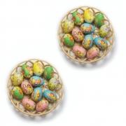 Enfeite Decorativo De Páscoa Com 2 Cesta 24 Ovos De Plástico