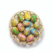 Enfeite Decorativo De Páscoa Com Cesta E 12 Ovos De Plástico
