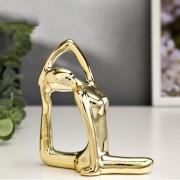 Enfeite Estatua De Yoga Enfeite Decoração Porcelana Dourada