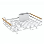 Escorredor De Louças Em Madeira E Aço Cozinha Branco 44Cm