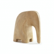 Escultura Decorativa Elefante Em Poliresina Amadeirado 12Cm