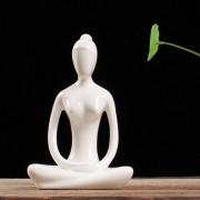 Estatua De Yoga Enfeite Decoração Porcelana Branco