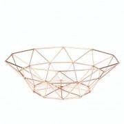 Fruteira Aramada Metal Rose Gold Geométrica Minimalista
