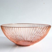 Fruteira De Mesa Metalizada Redonda Rose Gold 10,5X27 Cm