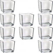 Kit 10 Mini Vaso Castiçal De Vidro Cachepot Quadrado 6x6cm