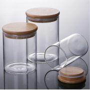 Kit 10 Potes De Vidro Tampa De Bambu Mantimentos 560ML