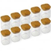 Kit 10 Potes Quadrados Para mantimentos Tampa De Bambu 200ML