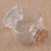 Kit 12 Frascos De Vidro Em Coração Tampa De Rolha 70ml