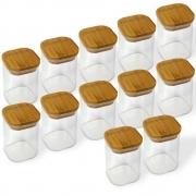 Kit 12 Potes Quadrados Para mantimentos Tampa De Bambu 200ML