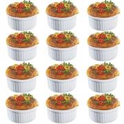 Kit 12 Ramekins Ramequim Gourmet 190ml Cerâmica Canelado