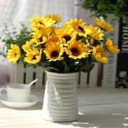 Kit 2 Buquê Com 9 Galho Girassol Flor Artificial Decoração