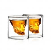 Kit 2 Copos Caveira De Vidro Shot Aperitivo Whisky 75ml