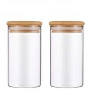 Kit 2 Potes De Vidro Para Mantimentos Com Tampa Bambu 300ML