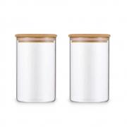 Kit 2 Potes De Vidro Para Mantimentos Com Tampa Bambu 600ML