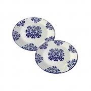 Kit 2 Pratos Em Cerâmica  Decorativo Para Lanche 18Cm