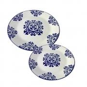 Kit 2 Pratos Em Cerâmica  Decorativo Para Lanche 18Cm E 26Cm