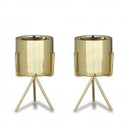 Kit 2 Vasinhos Suculenta De Cerâmica Com Suporte Dourado