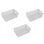 Kit 3 Cesto Organizador De Plástico Para Cozinha Com Alça