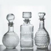 kit 3 Garrafas Em Vidro Retrô Licor Whisky Decoração Vintage