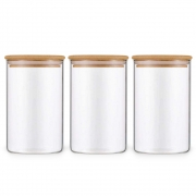 Kit 3 Potes De Vidro Para Mantimentos Com Tampa Bambu 600ML
