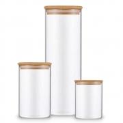 Kit 3 Potes De Vidro Para Mantimentos Com Tampa De Bambu