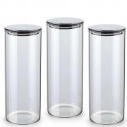 Kit 3 Potes Herméticos De Vidro Com Tampa Inox Prata 1800Ml