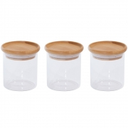 Kit 3 Potes Porta Mantimentos De Vidro Tampa De Bambu 200ML