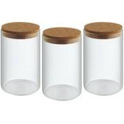 Kit 3 Potes Porta Temperos Condimentos Tampa De Rolha 560ml