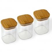 Kit 3 Potes Quadrados Para mantimentos Tampa De Bambu 200ML