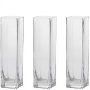 Kit 3 Vaso Castiçal De Vidro Decoração Vela Flores Quadrado