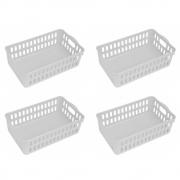 Kit 4 Cesto Organizador De Plástico Para Cozinha Com Alça
