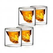 Kit 4 Copos Caveira De Vidro Shot Aperitivo Whisky 75ml