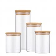 Kit 4 Potes Com Tampa De Bambu Para Mantimentos