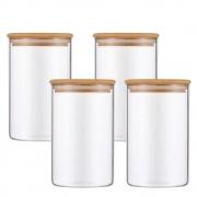 Kit 4 Potes De Vidro Para Mantimentos Com Tampa Bambu 600ML