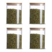 Kit 4 Potes De Vidro Tampa De Bambu Para Mantimentos 480ML