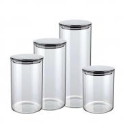 Kit 4 Potes Herméticos De Vidro Com Tampa Inox Prata