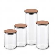 Kit 4 Potes Herméticos De Vidro Com Tampa Inox Rose Gold