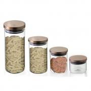 Kit 4 Potes Herméticos De Vidro Com Tampa Rose Gold