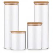 Kit 4 Potes Para Mantimentos De Vidro Com Tampa Bambu