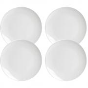 Kit 4 Pratos Raso De Luxo Em Cerâmica Decorativo Branco