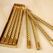 Kit 4 Velas Natalina Torcida Castiçal Candelabro Dourada