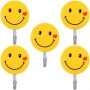 Kit 5 Ganchos Autoadesivo Para Parede Emoji Carinha Smile