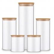 Kit 5 Potes Para Mantimentos De Vidro Com Tampa De Bambu