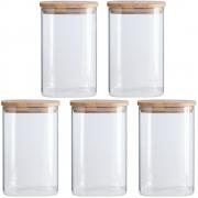 Kit 5 Potes Quadrados Para mantimentos Tampa De Bambu 1100ML