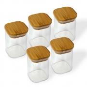 Kit 5 Potes Quadrados Para mantimentos Tampa De Bambu 200ML