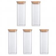 Kit 5 Potes Quadrados Para mantimentos Tampa De Bambu 400ML